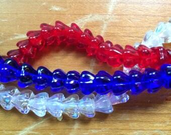 20 Cobalt Flower Cone Czech Pressed Glass Beads
