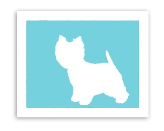 Westie Silhouette Print West Highland White Terrier Modern Pet Decor Dog Lover Gift Mod-Dog Archival Fine Art - 5x7