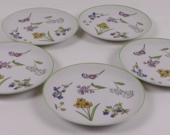Set of 5 TASTE SETTERS COLLECTION Bread & Butter Plates - Wild Flowers