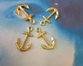 Raw Brass Anchor Charms 1198RAW x4