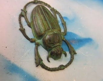 Verdigris Patina Large Beetle 43x28mm Stamping Pendant 956VER x1