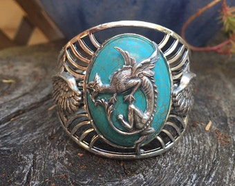 Fantasy Medievel Pirate Goth Turquoise and Silver Dragon Cuff