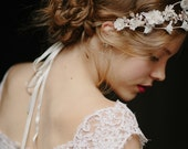 Rose gold wedding silk flower bridal crown - Mathilda no.