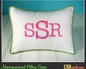Monogrammed Personalized Pillow Cover - Lumbar Size 12 x 16