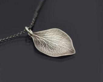 Sterling Silver Hydrangea Petal Necklace, botanical jewelry, dainty hydrangea pendant