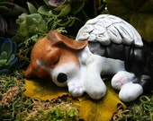 Beagle Angel Statue - Dog Angel Memorial - Concrete Pet Marker
