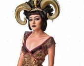 Horns, Burning man, Halloween, Horn Headdress, Skull, Skull headdress,Horn, Ram horns, Msformaldehyde, Ready to ship, Feather headdress