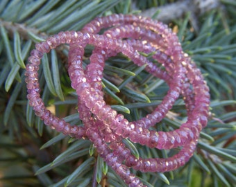 Dusty Pink Sapphire Faceted Roundels - Half Strand - 2 to 4mm - 8 Inches