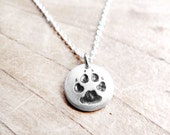 Tiny dog paw print necklace, silver dog jewelry, dog lover jewelry, eco friendly