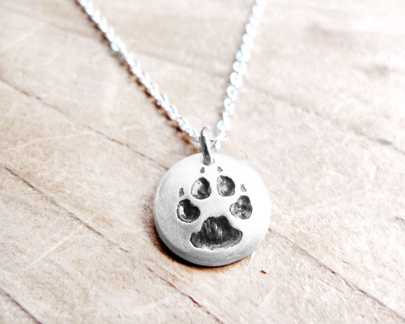 Tiny dog paw print necklace, silver dog jewelry, dog lover jewelry, eco friendly