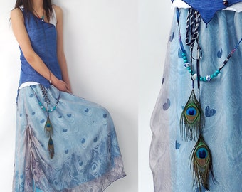 peacock - chiffon maxi skirt and dress (Q1206)