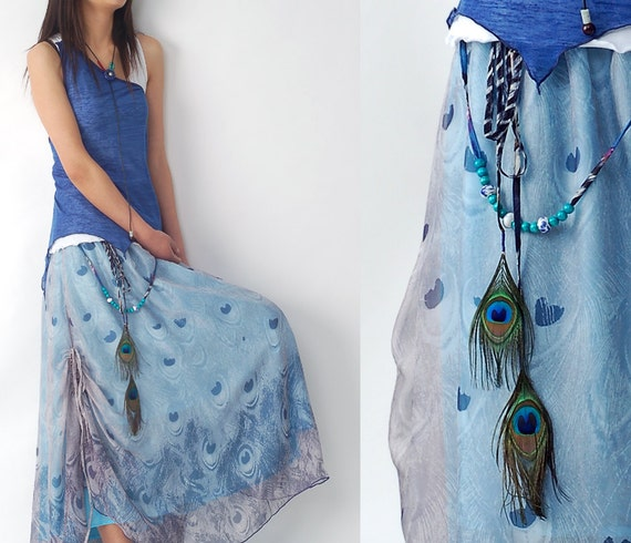 peacock - chiffon maxi skirt and dress (Q1206)