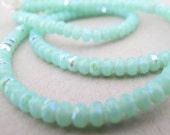 "Czech Glass Beads Mint Green AB 4mm rondelle 2 11"" strands"