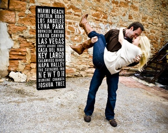 Wedding Family Name Sign Bus Scroll, Subway Art, Tram Scroll, Destination Roll - Distressed Quality Canvas 10X20