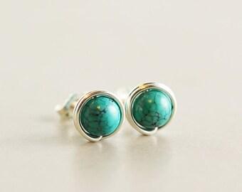 Turquoise Studs, Sterling Post Earrings, December Birthstone