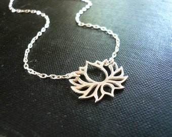Open Lotus Flower Necklace in Sterling Silver - Silver Blooming Lotus Flower Necklace