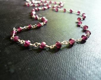 Garnet Necklace - Genuine Red Garnet Gemstone Necklace in Sterling Silver. Linked Stone Necklace. Sterling and Garnet Necklace.