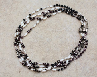 "Vintage,Sterling Silver, Garnets and Pearls Beautiful Double Strand Necklace. 38.5gm, 33"" long. Made in Thailand"