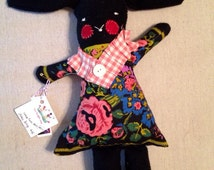Black Bunny Doll in Pierre Deux