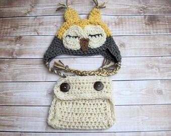 Baby Owl Hat, Diaper Cover Set, Crochet Baby Hat, Baby Diaper Cover, Baby Photo Prop, Baby Animal Hat, Newborn Owl Hat, Newborn Diaper Cover