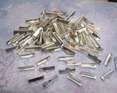 10 Textured Silver Tone Ribbon Clamp Clasps Crimp End Clasps with Loop 20mm