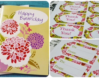 Happy Birthday card gift tags PDF - collage art sheet Zinnia pink purple print digital thank you to from