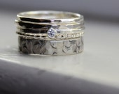 Unique Stacking Sterling Rings with Diamond Solitaire
