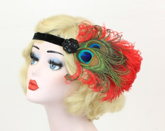 Red Feather Fascinator - Black Flapper Headband - Peacock Feather Fascinator - Great Gatsby Headpiece - Prom Hair Accessory