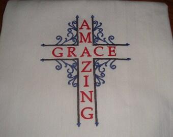 Amazing Grace flour sack kitchen dish towel, tea towel, machine embroidery, Christian towel