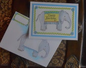 Mail Art Elephant Birthday Card w Matching Envelope