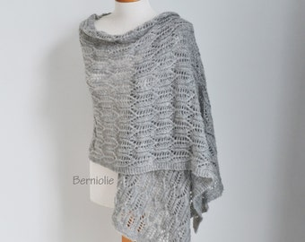 Lace knitted shawl, grey, gray,  N340