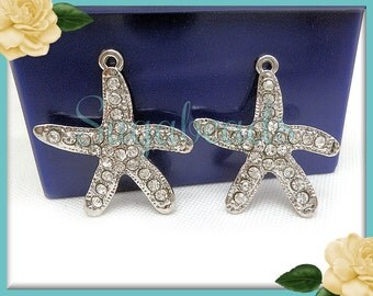 3 Starfish Charms with Crystals - Silver Starfish Pendants with Clear Rhinestones 28mm