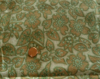 Vintage Cotton Feed Sack Spring Green & Taupe Floral on Cream