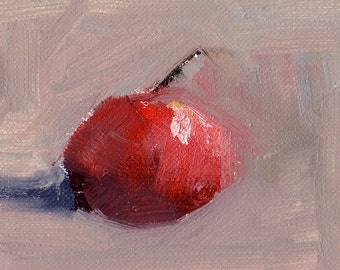 Single Cherry - ACEO - Original Oil Painting - FREE SHIPPING