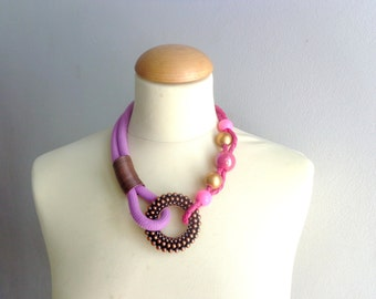Pink brown gold statement necklace