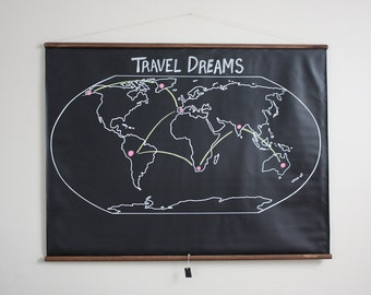 Chalkboard World Map - EXTRA LARGE SIZE // Travel Map // Geography // Globe // Poster // Homeschool Decor // Map Art // Traveler Gift