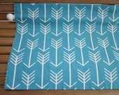 """Teal Blue and White Arrow Valance - 50"""" x 16"""" -Ready to Ship!"""
