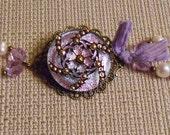 Lavender Pink Glass Button Bracelet