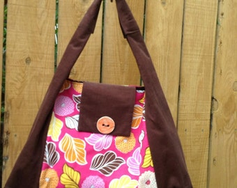 Hobo Bag Autumn Leaves and Mums with Handmade Ceramic Button Large Shoulder Bag