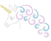 Magical Unicorn Paper Embroidery Pattern for Greeting Cards