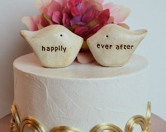 Wedding cake topper...Love birds... happily ever after ... perfect for a rustic wedding
