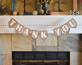 Wedding party pennant banner, THANK YOU, rustic celebration decor decorations