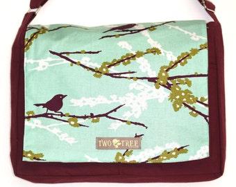 Burgundy and MINT Green Bird  MeSSENGER Book Laptop Diaper BAG