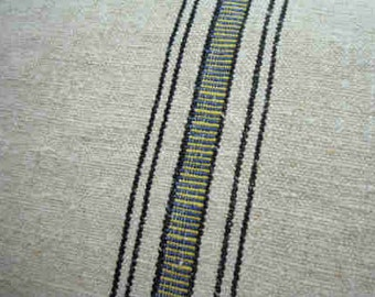 Vintage GrainSacK Down Feather Pillow French CoTTagE SHaBBy CHiC Yellow Stripe Rustic