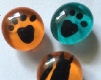 Hand painted glass gem magnets party favors paw prints and black cat