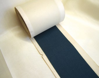 "Vintage Rayon French Grosgrain Ribbon 3"" Wide Dark Teal Blue Green"