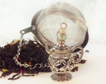 Silver, Flower, Garden Fairy, Tea Pot, Tea-ball, Tea Party Favor
