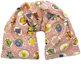 Microwavable Neck Wrap with Removable Cover Long Length Choice of Herbs-Rose Background with Garden Motifs