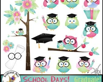 School Days set 2 - Graduate OWLS -  17 digital clipart graphics owl graduation apple paint palette teacher librarian Grads Smart OWL books
