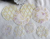 Paper Doilies...8 Piece Set of Very Sweet and Dainty French Pastry and Sophia's Heart Paper Doilies Scrapbook Embellishments